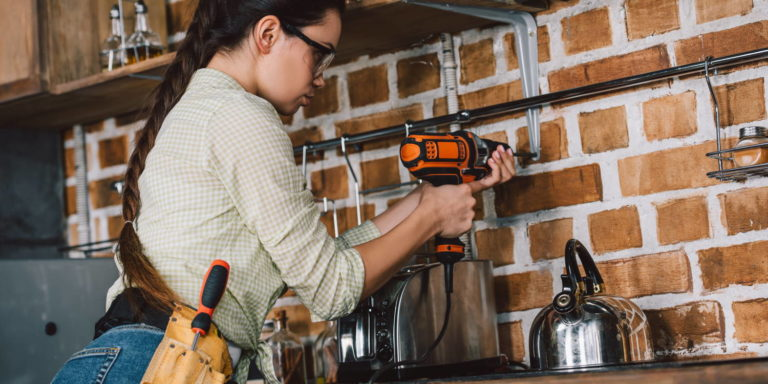 power tool used by woman