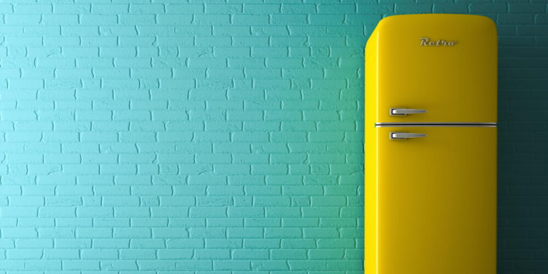 retro fridge yellow ready to be powered