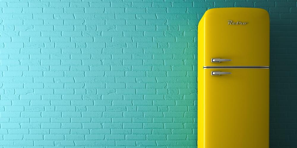 retro fridge yellow ready to be powered